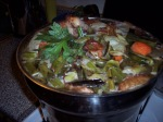 Simmering turkey stock